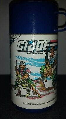 Vintage 1986 GI Joe Thermos  Aladdin Brand Blue Top