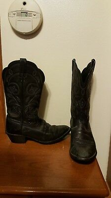 Ladies Western Black Leather Boots - ARIAT LADIES BLACK WESTERN COWBOY LEATHER BOOTS 15770 SZ 7B EUR 37.5M NUC