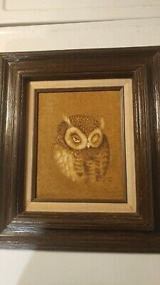 "Vintage 16"" x 18"" Oil On Canvas Framed Owl Painting 15661 Mexico"