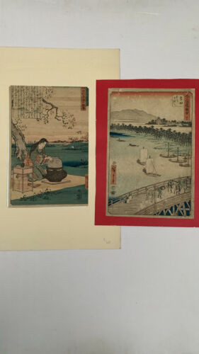 Lot of 2 Hiroshige - Japanese Woodblock Prints - Ukiyo-e