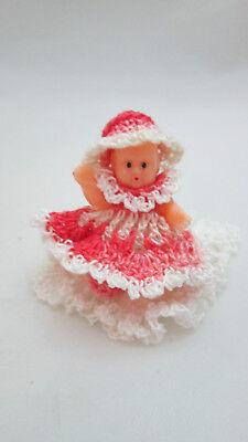 "Dollhouse Miniature 1 1/4"" sitting Plastic Baby Doll w/crochet dress on Pillow"