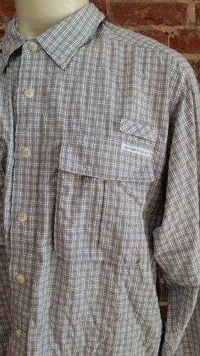 ExOfficio LS Button Up Shirt Vented Hiking Gray White Check Plaid Mens XXL 2XL