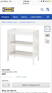 IKEA GULLIVER CHANGING TABLE WHITE PLUS CHANGING PAD AND COVER