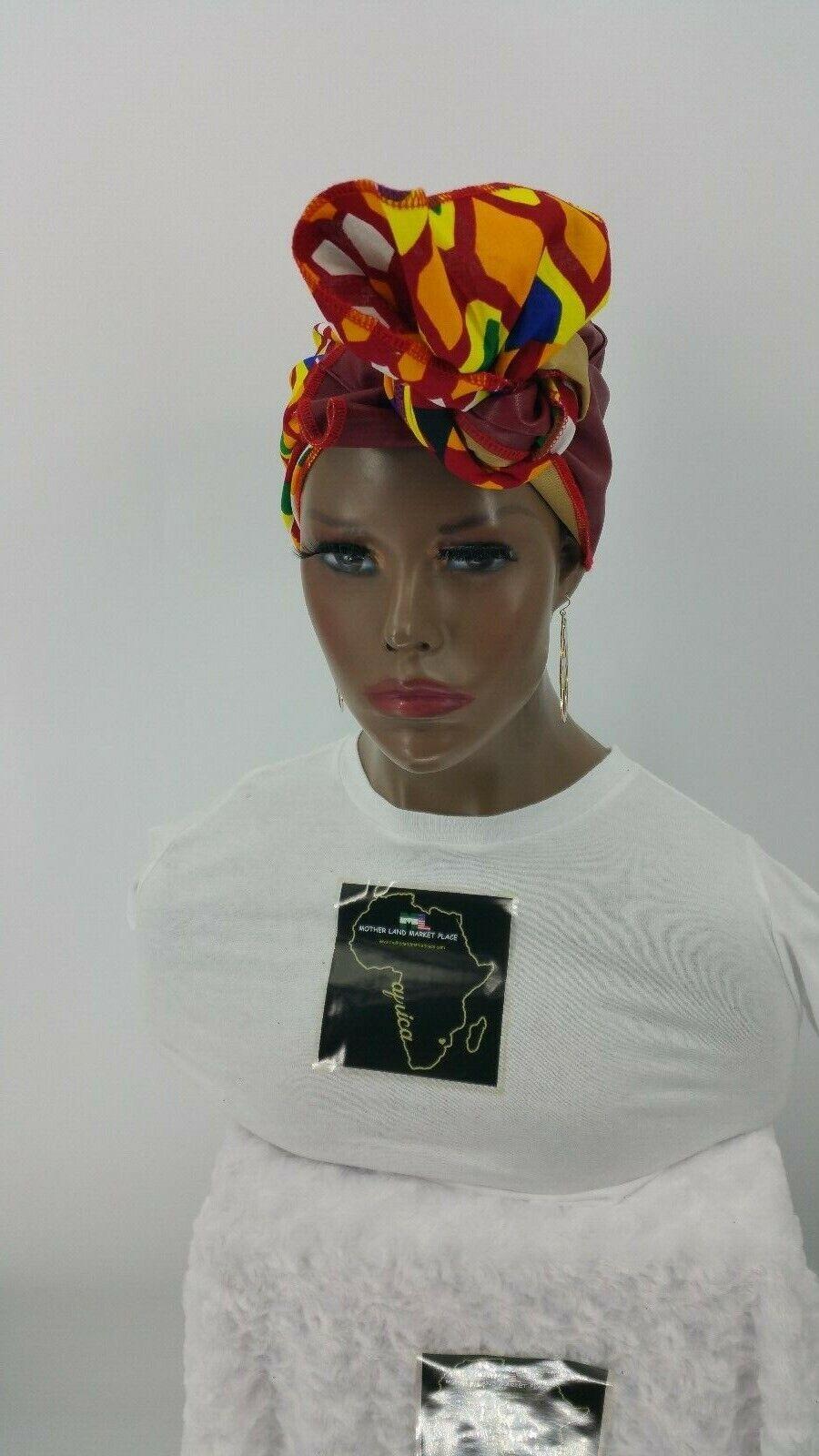 Kente Ankara Faux Leather Combo Headwrap,Infinity Neck Scarf