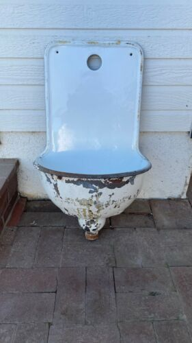 ANTIQUE FRENCH? CAST IRON PORCELAIN ENAMEL WALL FOUNTAIN LAVABO SINK FOR GARDEN