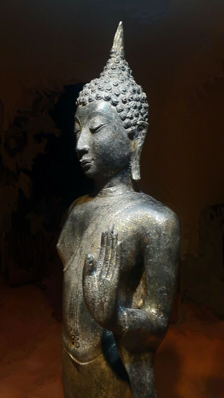 ANTIQUE BRONZE SUKHOTHAI WALKING BUDDHA, TEMPLE RELIC. 19/20TH C.