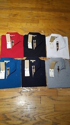 Burberry london mens short sleeve nova check placket polo shirt -