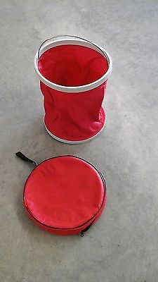 "Red fold up bucket for water/trash w/storage bag 2.9 gallons, 10"" Diam  Tough 1"