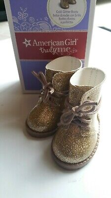 American Girl Doll Gold Glitter Boots, Shoes for 18