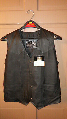 Biker Leather And Clothing - USA BIKERS DREAM APPAREL LEATHER VEST-- USA AND FLAG ON BACK--SIZE M