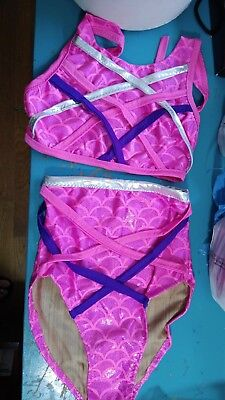 High Waist Bikini Pink Mermaid Scale Strappy Two Piece Halter Top Fully Lined