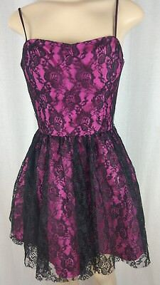Steppin' Out  black lace hot pink corseted short tutu dress gothic punk skater ](Hot Pink And Black Tutu)