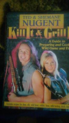 """TED NUGENT AUTOGRAPHED / SIGNED """"KILL IT AND GRILL IT"""" BOOK FRAMED!  2002"""