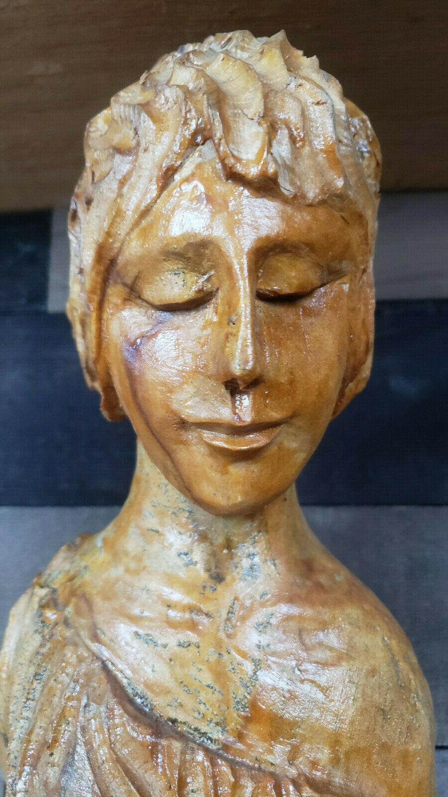 Купить Rare Vintage Handcarved Wooden Statue of a Woman Holding Her Breast. 34