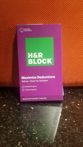 2020 H&R BLOCK Tax Software Deluxe + State Download Physical Key Card