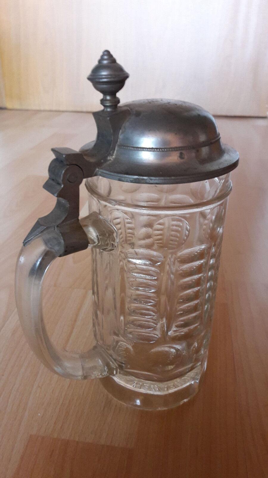 antiker glaskrug bierkrug zinndeckel mit gravur eur 39 00 picclick de. Black Bedroom Furniture Sets. Home Design Ideas