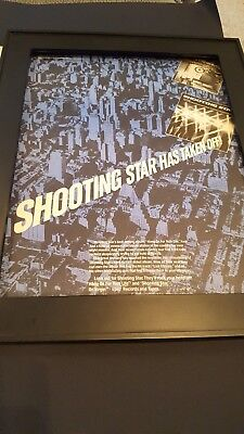 Shooting Star Hang On For Your Life Rare Original Promo Poster Ad Framed!
