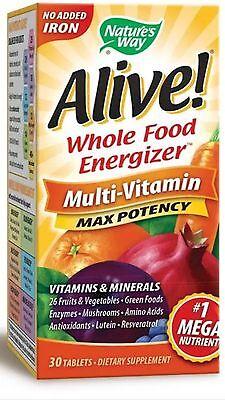 Alive Vitamin (Alive Multi Vitamin Max Potency (3 Daily) NO Iron 30 Tabs FAST SHIPPING)