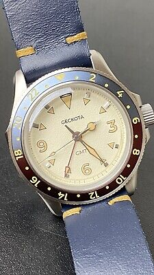 Geckota G-02 Pepsi GMT Second Time Zone Watch Swiss Movement Hand Made Strap