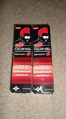 2 Red Splat Temporary Hair Color Gel Light My Fire Wash Out Extreme Hold Styling