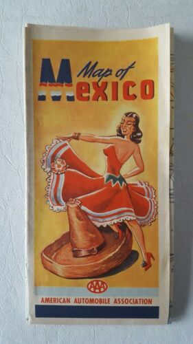"""Vintage 1951 AAA Triple A Road Map of Mexico Large 34"""" x 24"""""""