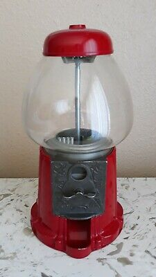 """Vintage Metal Gumball Machine Candy Dispenser Red 14"""""""