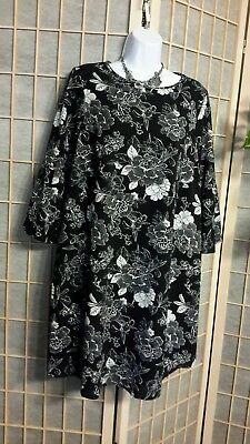 INGRID ISABEL MATERNITY DRESS WASHABLE BLACK WHITE FLORAL FLARED SLEEVE SMALL