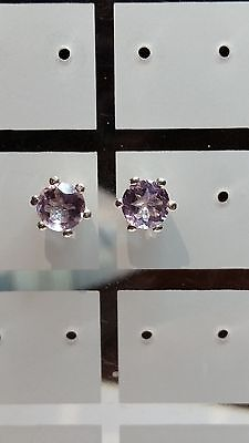 BEAUTIFUL NATURAL 2CT 6MM ROUND PINK TOPAZ EARRINGS IN 925 STERLING SILVER
