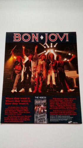 "BON JOVI  ""SLIPPERY WHEN WET""  1987  RARE ORIGINAL PRINT PROMO POSTER AD"