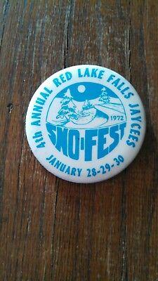 Vintage Collectible ButtonPinBack Jaycees 4thAnnual SnoFest RedLakeFalls MN 1972