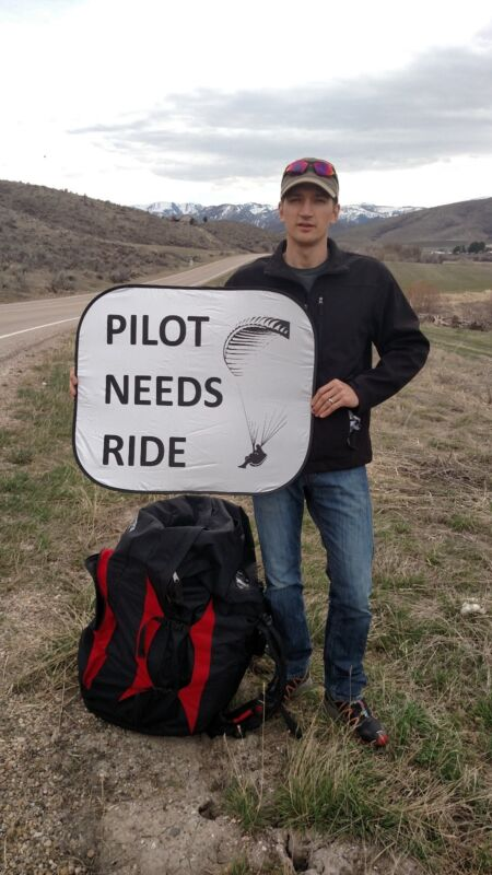 """Paragliding, Speed wing """"Pilot Needs Ride"""" Sign"""