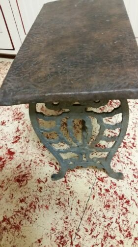 ANTIQUE VINTAGE ORNATE VICTORIAN CAST IRON BENCH STOOL SEAT 24 X 12 ORG. COND.