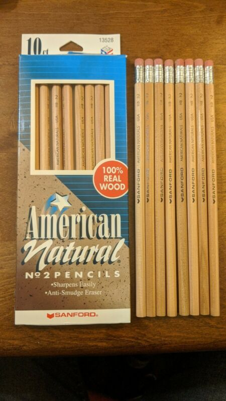 VINTAGE Sanford AMERICAN NATURAL 18 COUNT HB #2 PENCILS MADE IN USA 2000