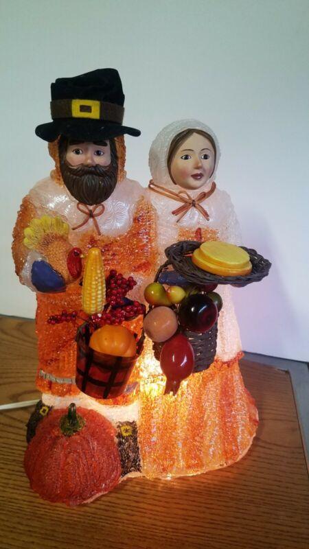HTF Vintage Thanksgiving Light Up Ice Blown Mold Pilgrim Couple Lamp Vtg