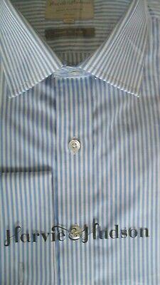 "Harvie /& Hudson 16/""//33.5/"" 2Fold Cotton Pleated Dual Front Dress Shirt RRP £89.50"