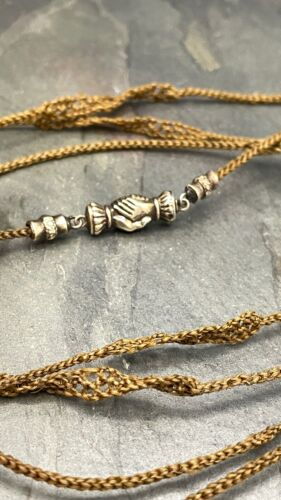 Antique Mourning Hair Ornate Friendship Hand Clasp Woven Hair in Gold