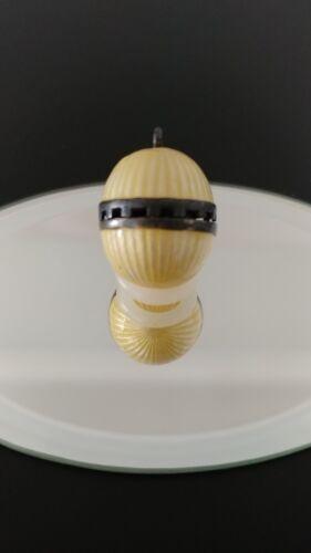 Antique Art Deco Perfume Vinaigrette Yellow Guilloche Enamel Egg Pendant LOVELY!