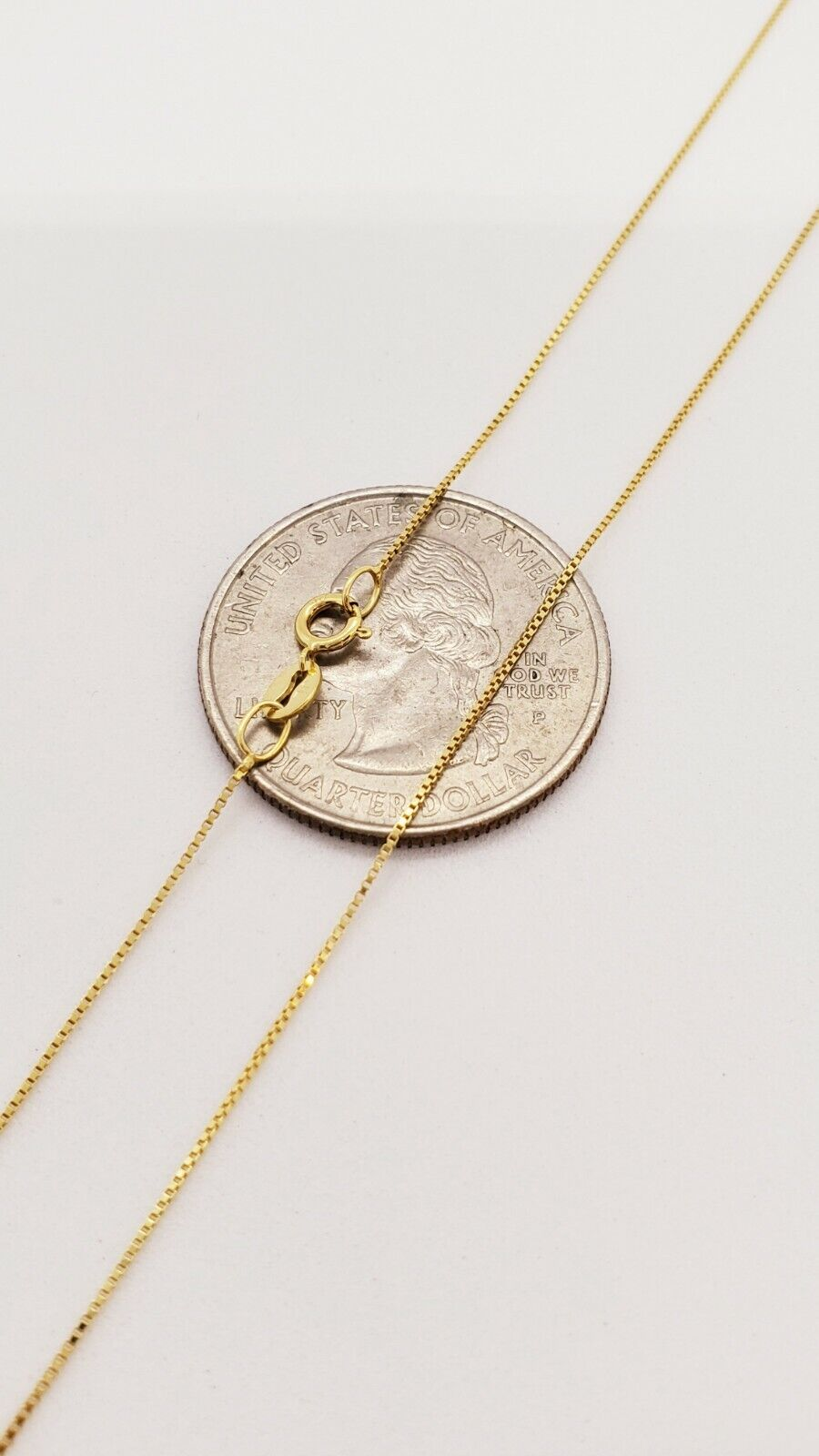 """10K Solid Yellow Gold Italian Box Chain Men's Women's Necklace 16"""" - 24"""" inches 4"""