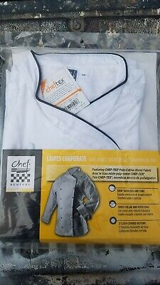 Chef Revival XS Ladies Corporate Chef Jacket LJ008-XS White Cloth Black Piping