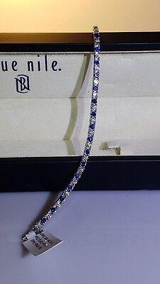 18K BLUE NILE Diamond and Blue Sapphire Tennis Bracelet
