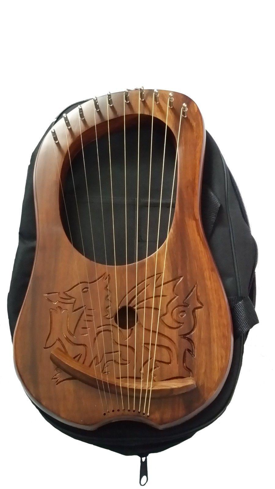 Neu Lyra Mundharmonika Graviertes Keltisch Walisischer Drachelyra Sheesham Holz