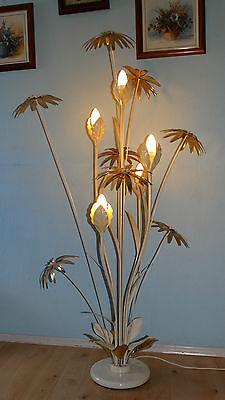 Stehlampe Palmenlampe Blumen Stehleuchte Palme Bodenleuchte Leuchte weiß gold