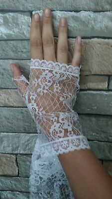 Fingerless Lace Gloves White XS/petite - Lace Fingerless Gloves