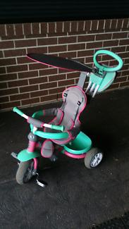 Kids push on bike trike stroller with steer handle