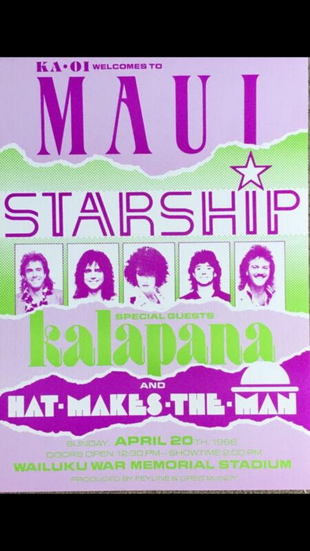 "STARSHIP 1986 ORIGINAL VINTAGE HAWAII CONCERT POSTER ""KNEE DEEP IN THE HOOPLA..."
