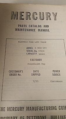 Pettibone Mercury A 300j-j05 Forklift Parts Catalog And Maintenance Manual