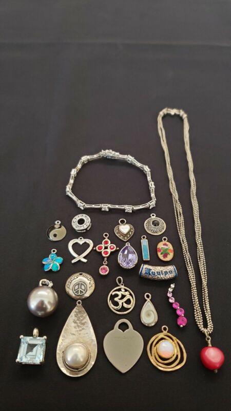 Lot of vintage modern sterling silver bracelet necklace pendants charms gemstone