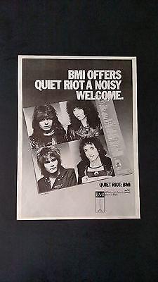 QUIET RIOT:  BMI  (1983)   RARE ORIGINAL PRINT,PROMO POSTER  AD