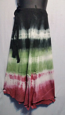 Women Tie Dye Long Wrap around Skirt Dress Beach Sarong Rayon P#220 Free Size