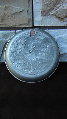 ANTIQUE ARABIAN DETAILED REPOUSSE COPPER SILVERED WALL PLAQUE PLATE HUNTING